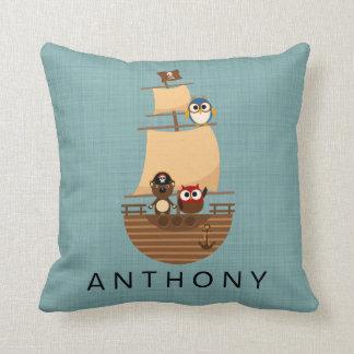 Ahoy Cute Animal Pirate Ship Nursery Decor Throw Pillow