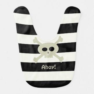Ahoy! Cute Pirate Skull Stripe Baby Bib