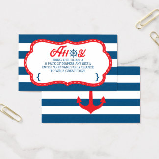 Ahoy Diaper Raffle Ticket, Nautical, Blue, Red Business Card