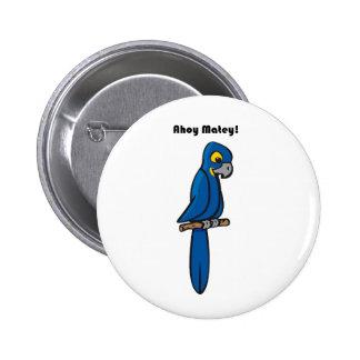 Ahoy dibujo animado azul afable del loro del Macaw Pins