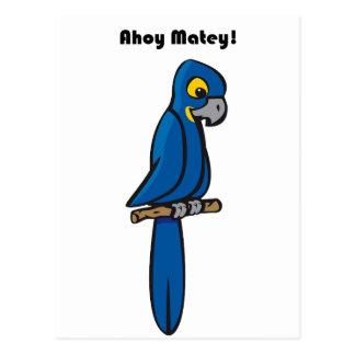 Ahoy dibujo animado azul afable del loro del Macaw Postal