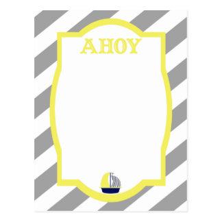 Ahoy el gris náutico raya la postal