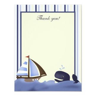 Ahoy el plano de la ballena azul del compañero le invitación 10,8 x 13,9 cm