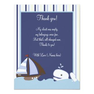 """Ahoy el plano de la ballena blanca 4x5 del invitación 4.25"""" x 5.5"""""""