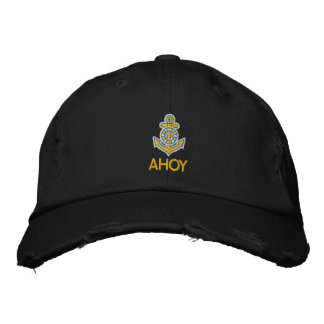 AHOY EMBROIDERED BASEBALL HAT