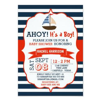 ¡Ahoy es un muchacho! La fiesta de bienvenida al Invitación 12,7 X 17,8 Cm