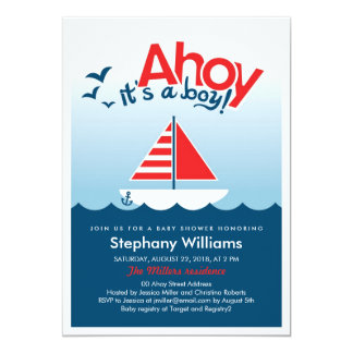 Ahoy es un muchacho que la fiesta de bienvenida al invitación 12,7 x 17,8 cm