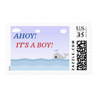 Ahoy es una ballena linda del muchacho estampilla