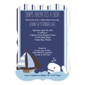 """Ahoy fiesta de bienvenida al bebé del velero de la invitación 5"""" x 7"""""""
