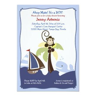 Ahoy invitación 5x7 de la ballena, del velero y