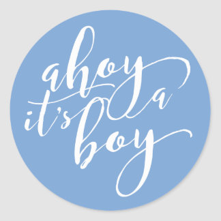 Ahoy It's a Boy Blue Baby Shower Announcement Classic Round Sticker