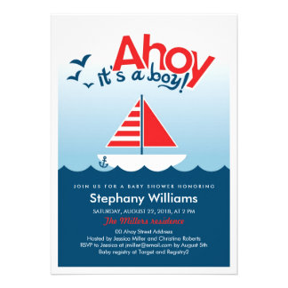 Ahoy it s a Boy Nautical Baby Shower Invite