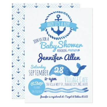 Toddler & Baby themed Ahoy It's a Boy! Baby Shower Invitation
