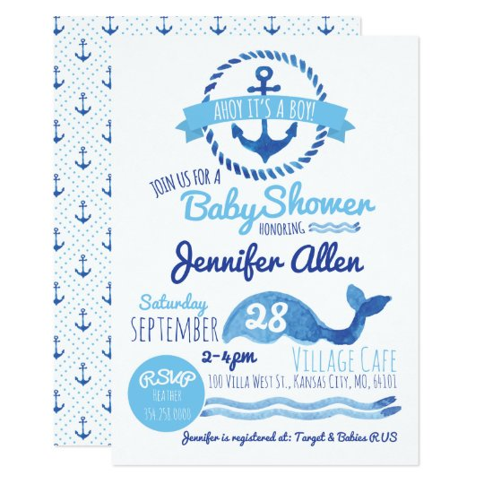 Ahoy Its A Boy Baby Shower Invitation Zazzle