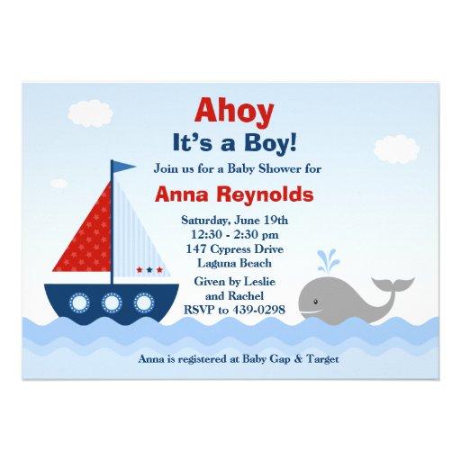 """Ahoy Its a Boy Baby Shower Invitation 5"""" X 7"""" Invitation ..."""