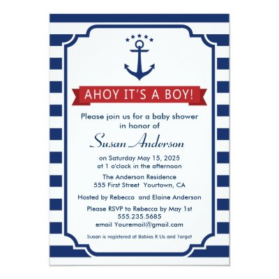 Ahoy It S A Girl Nautical Baby Shower Invitation Zazzle Com
