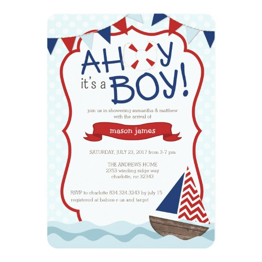 Great Ahoy Itu0027s A BOY! Baby Shower Invitation