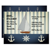 Ahoy It's a Boy Baby Shower Sailing Retro Invite