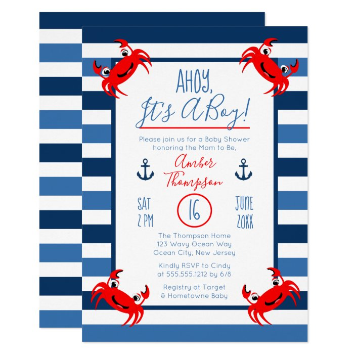 Ahoy It S A Boy Crab Nautical Theme