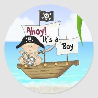 Ahoy! It's a Boy Cute Buccaneer Pirate Baby Shower Classic Round Sticker