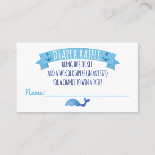 Ahoy It's a Boy Diaper Raffle Card