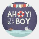 Ahoy It's A Boy Envelope seal sticker Nautical