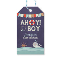 Ahoy it's a boy Favor tags Nautical Ocean Whale