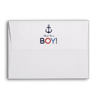 Ahoy It's a Boy Nautical Baby Shower A7 Envelope