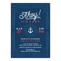 Ahoy It's A Boy   Nautical Baby Shower Card