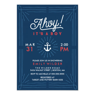 Ahoy It's A Boy | Nautical Baby Shower Card