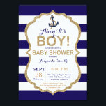 "Ahoy it&#39;s a Boy! Nautical Baby Shower Invitation<br><div class=""desc"">Ahoy it&#39;s a Boy! Nautical Baby Shower Invitation. Navy Blue and Gold Glitter. Navy Stripes background. For further customization,  please click the &quot;Customize it&quot; button and use our design tool to modify this template.</div>"