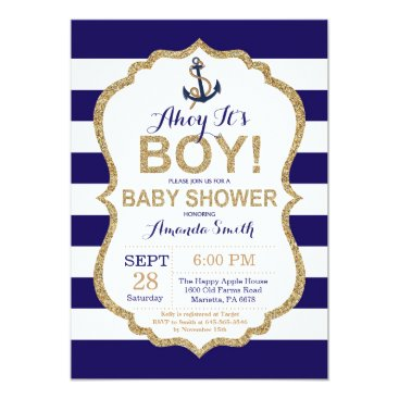 Toddler & Baby themed Ahoy it's a Boy! Nautical Baby Shower Invitation