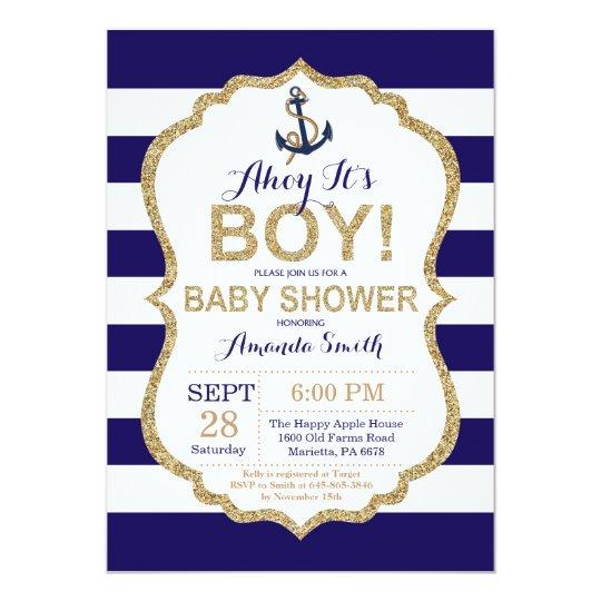 Ahoy It S A Boy Nautical Baby Shower Invitation