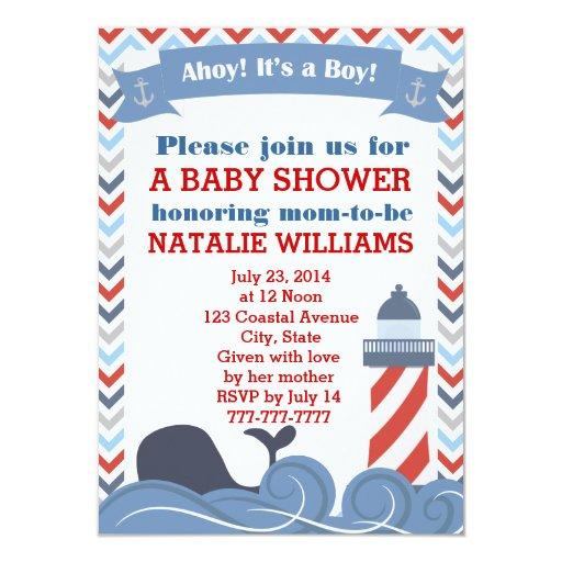 ahoy its a boy nautical baby shower invitation zazzle