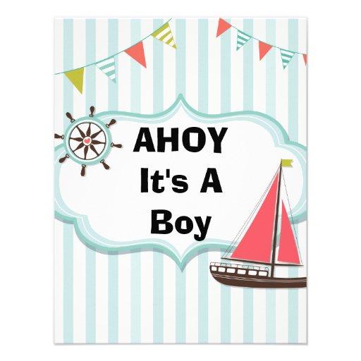 Ahoy It's a Boy Nautical Baby Shower Invitation | Zazzle