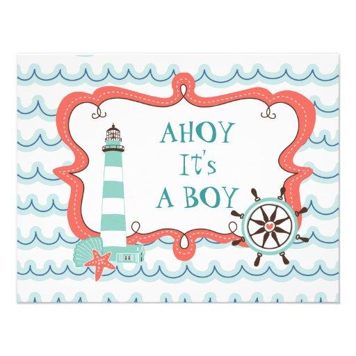 "Ahoy It's a Boy Nautical Baby Shower Invitation 4.25"" X 5 ..."
