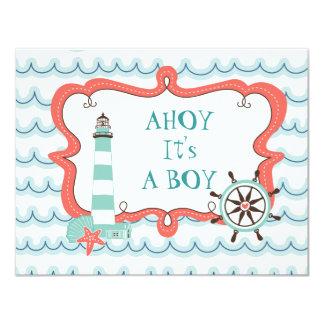 Ahoy It's a Boy Nautical Baby Shower Invitation