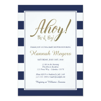 Ahoy! It's A Boy!  Nautical Baby Shower Invitation