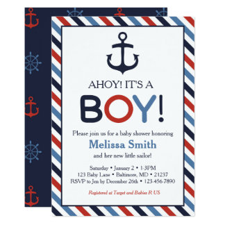 Ahoy Its A Boy Invitations Announcements Zazzle