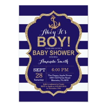 Beach Themed Ahoy it's a Boy! Nautical Baby Shower Invitation