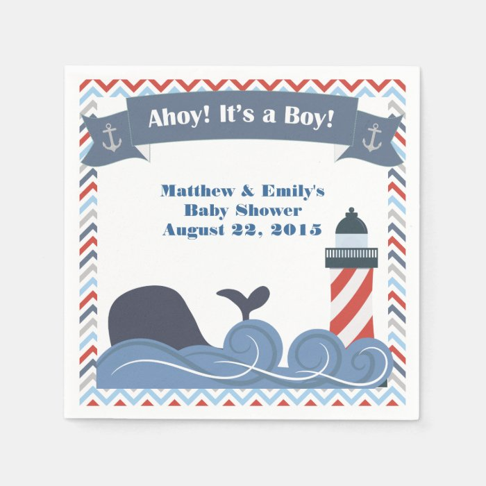 ahoy its a boy nautical baby shower paper napkins zazzle