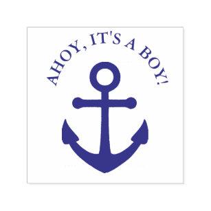 Ahoy Itu0027s A Boy Nautical Baby Shower Stamp