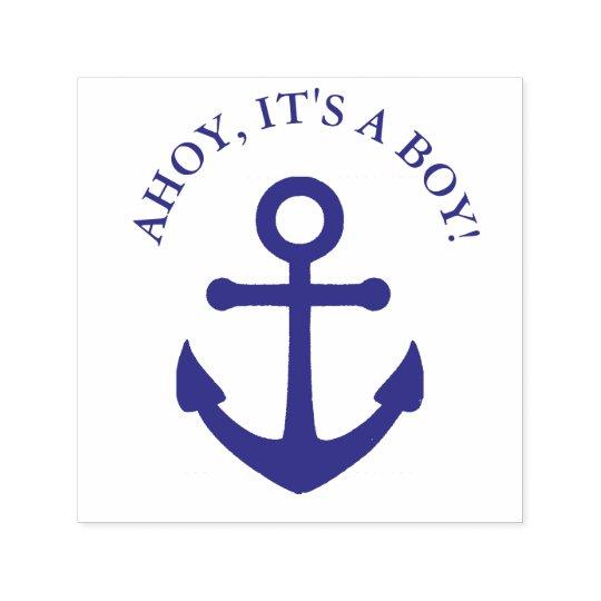 0586e5e543aff Ahoy It's a Boy Nautical Baby Shower Stamp   Zazzle.com