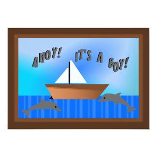 Ahoy! It's A Boy! Nautical Birth Announcement