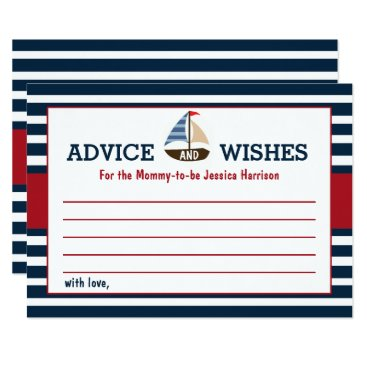 Beach Themed Ahoy It's A Boy! Nautical Boat Baby Shower Advice Card