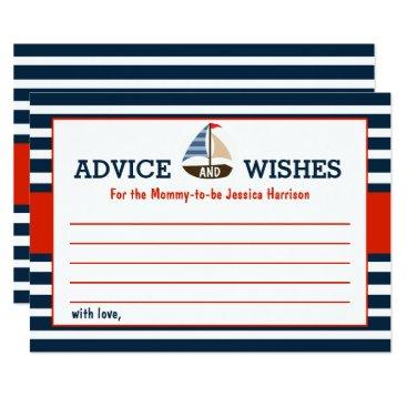 Beach Themed Ahoy It's A Boy! Nautical Boat Baby Shower Advice Card