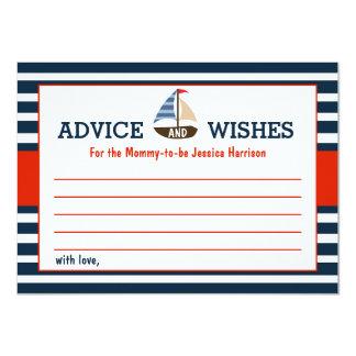 Ahoy It's A Boy! Nautical Boat Baby Shower Advice Card