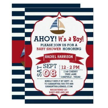 Beach Themed Ahoy It's A Boy! Nautical Boat Baby Shower Invites