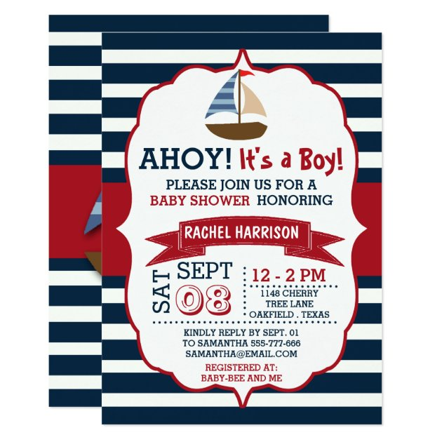 nautical baby shower invitations  announcements  zazzle, Baby shower invitations