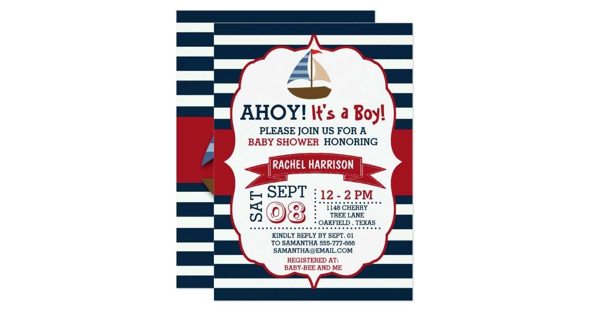Ahoy It S A Boy Nautical Boat Baby Shower Invites
